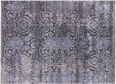 Floral Design Pure Silk With Oxidized Wool Modern Rug