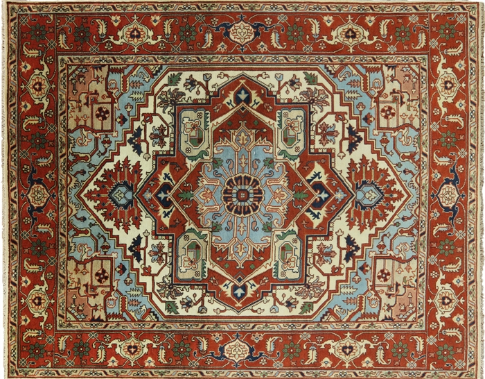Oriental Hand Knotted Wool Heriz Area Rug