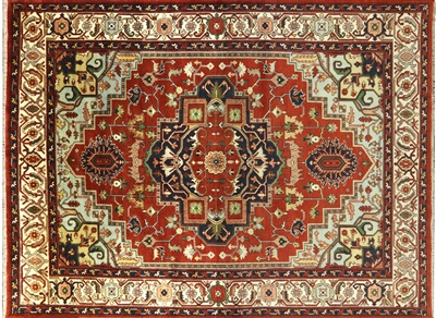 Hand Knotted Wool Heriz Area Rug