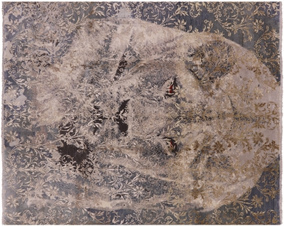 Lion In The Jungle Hi-Lo Pile Hand Knotted Wool & Silk Area Rug