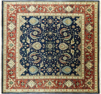 Square Heriz Serapi Hand Knotted Wool Oriental Rug