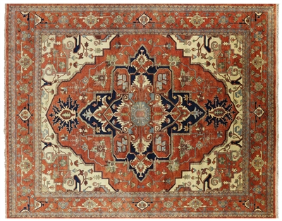 Hand Knotted Wool Heriz Serapi Oriental Rug