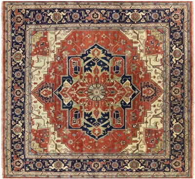 Square Hand Knotted Wool Heriz Serapi Rug
