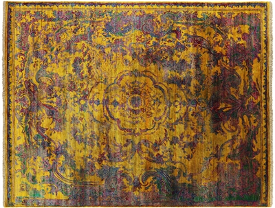 Persian Hand Knotted Pure Silk Floral Design Area Rug