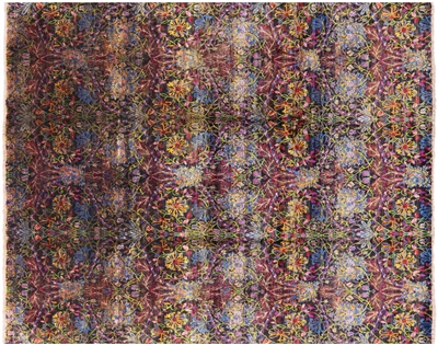 Hand Knotted Pure Silk Modern William Morris Design Rug