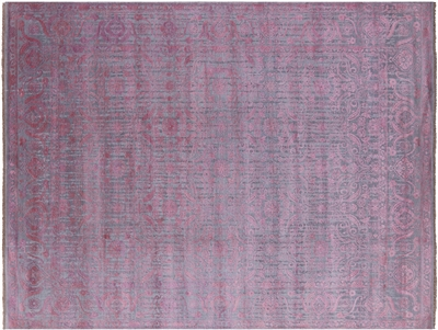 Wool & Silk Hi-Lo Pile Hand Knotted Floral Design Area Rug