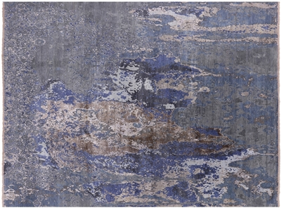 Modern Abstract Design Wool & Silk Hand Knotted Rug