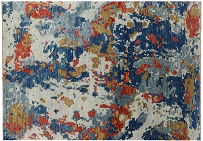 Oriental Hand Knotted Wool Abstract Area Rug