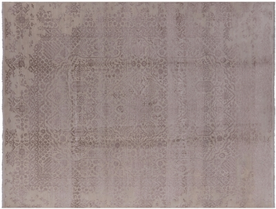 Modern Hi-Lo Pile Hand Knotted Persian Wool & Silk Rug