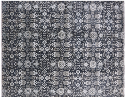 Modern Tribal Hand Knotted Persian Wool & Silk Area Rug