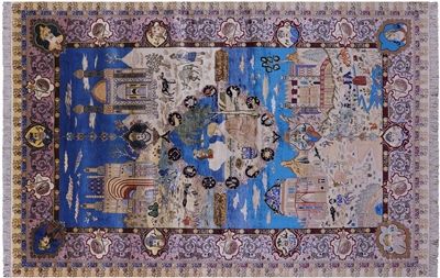 High End Persian Pictorial Scenery 100% Silk Hand Knotted Area Rug