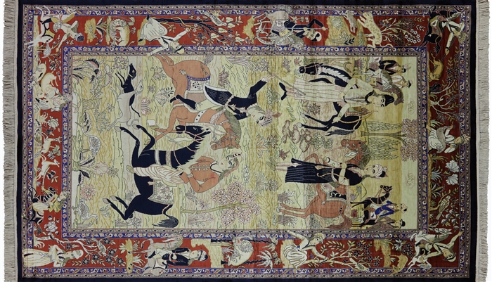High End Persian 100% Silk Pictorial Scenery Area Rug