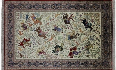 Hand Knotted Pictorial Scenery High End Persian 100% Silk Rug