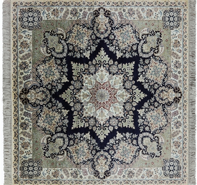 Square Hand Knotted High End Persian 100% Silk Area Rug