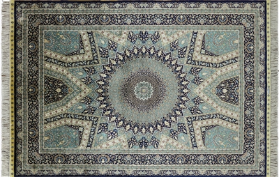 100% Silk Signed Persian High End Hand Knotted Area Rug