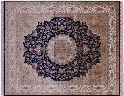Navy Blue High End Persian 100% Silk Hand Knotted Area Rug
