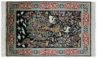 Tree of Life Signed Persian High End 100% Silk Rug