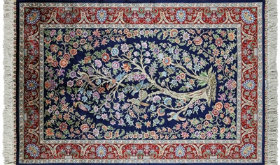 Persian Silk High End Hand Knotted Pictorial Scenery Rug