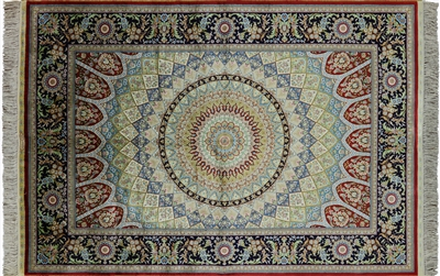 Gumbad Design Persian 100% Silk Hand Knotted High End Area Rug