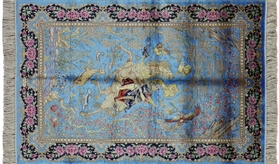 Pictorial Scenery High End Persian 100% Silk Hand Knotted Rug