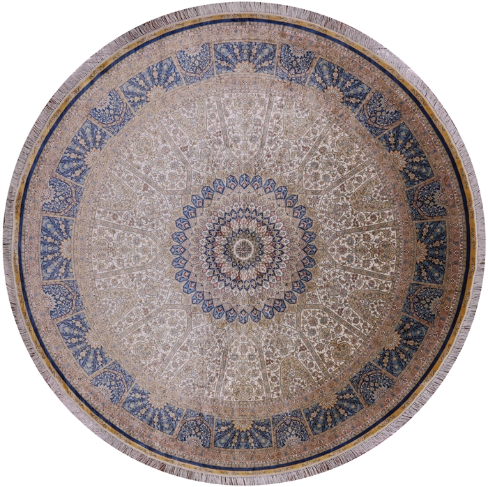 Gumbad Design Round Signed Persian High End 100% Silk Hand Knotted Area Rug
