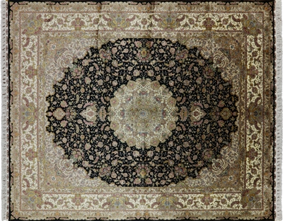 Hand Knotted High End Persian 100% Silk Area Rug