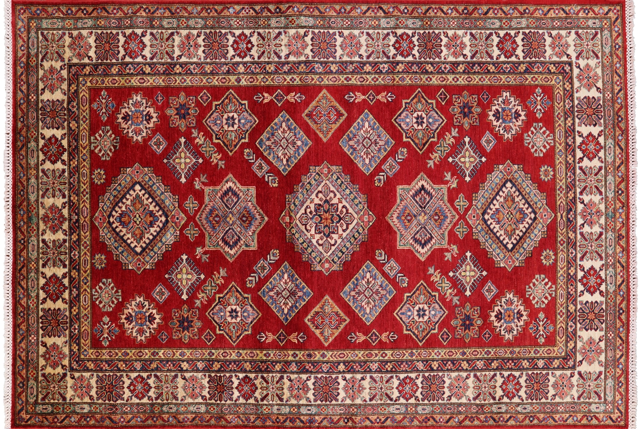 Super Kazak Hand Knotted Wool Area Rug 6 X 8