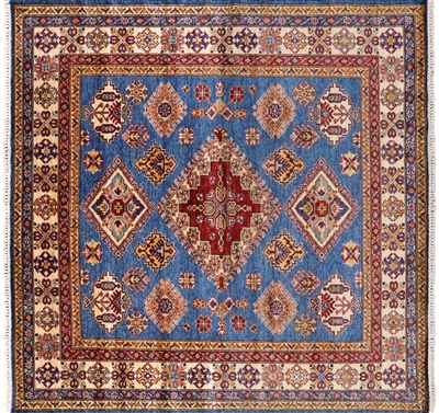 Square Super Kazak Hand Knotted Wool Rug
