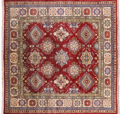 Square Super Kazak  Hand Knotted Area Rug