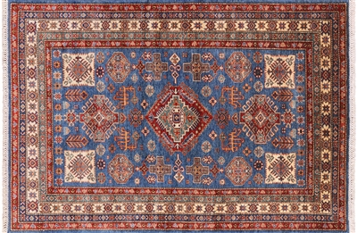 Blue Super Kazak Hand Knotted Area Rug