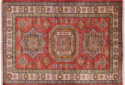 Geometric Super Kazak Hand Knotted Wool Rug