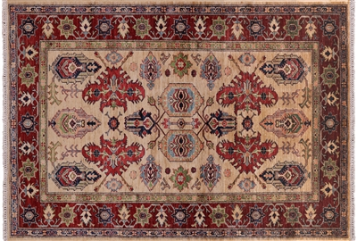 Ivory Super Kazak Hand Knotted Oriental Area Rug