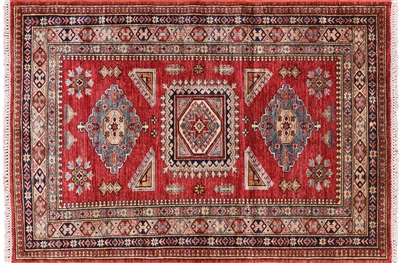 Geometric Hand Knotted Wool Super Kazak Area Rug