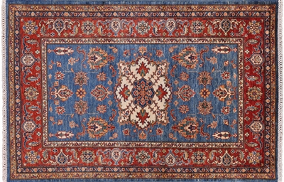 Wool Super Kazak Oriental Area Rug
