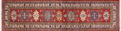 Red Super Kazak Handmade Runner Rug