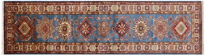 Super Kazak Hand Knotted Wool Runner Rug