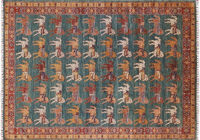 Horses Design Super Gabbeh Hand Knotted Area Rug