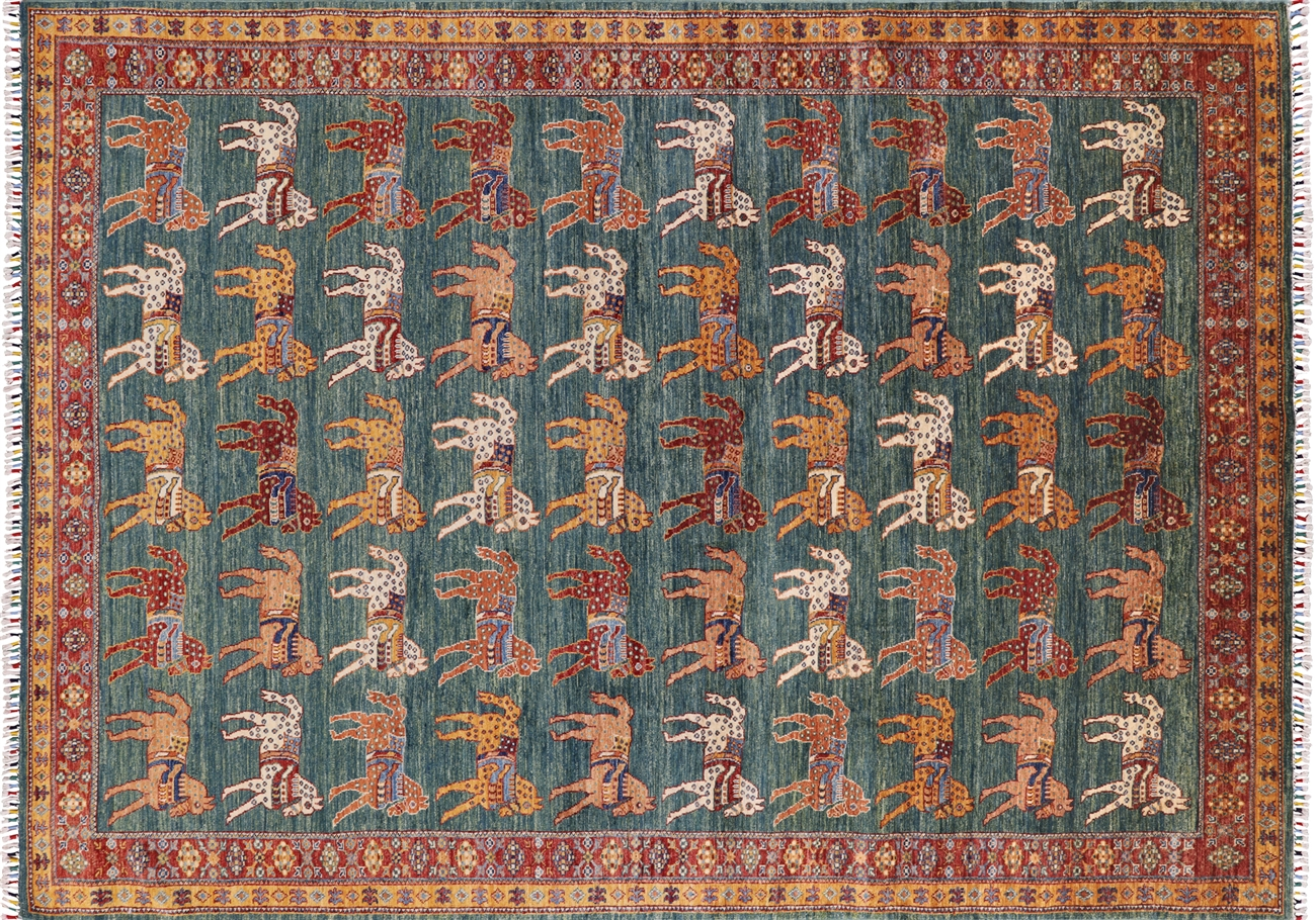 Oriental Horses Design Super Gabbeh Hand Knotted Area Rug 6 7 X 9 3