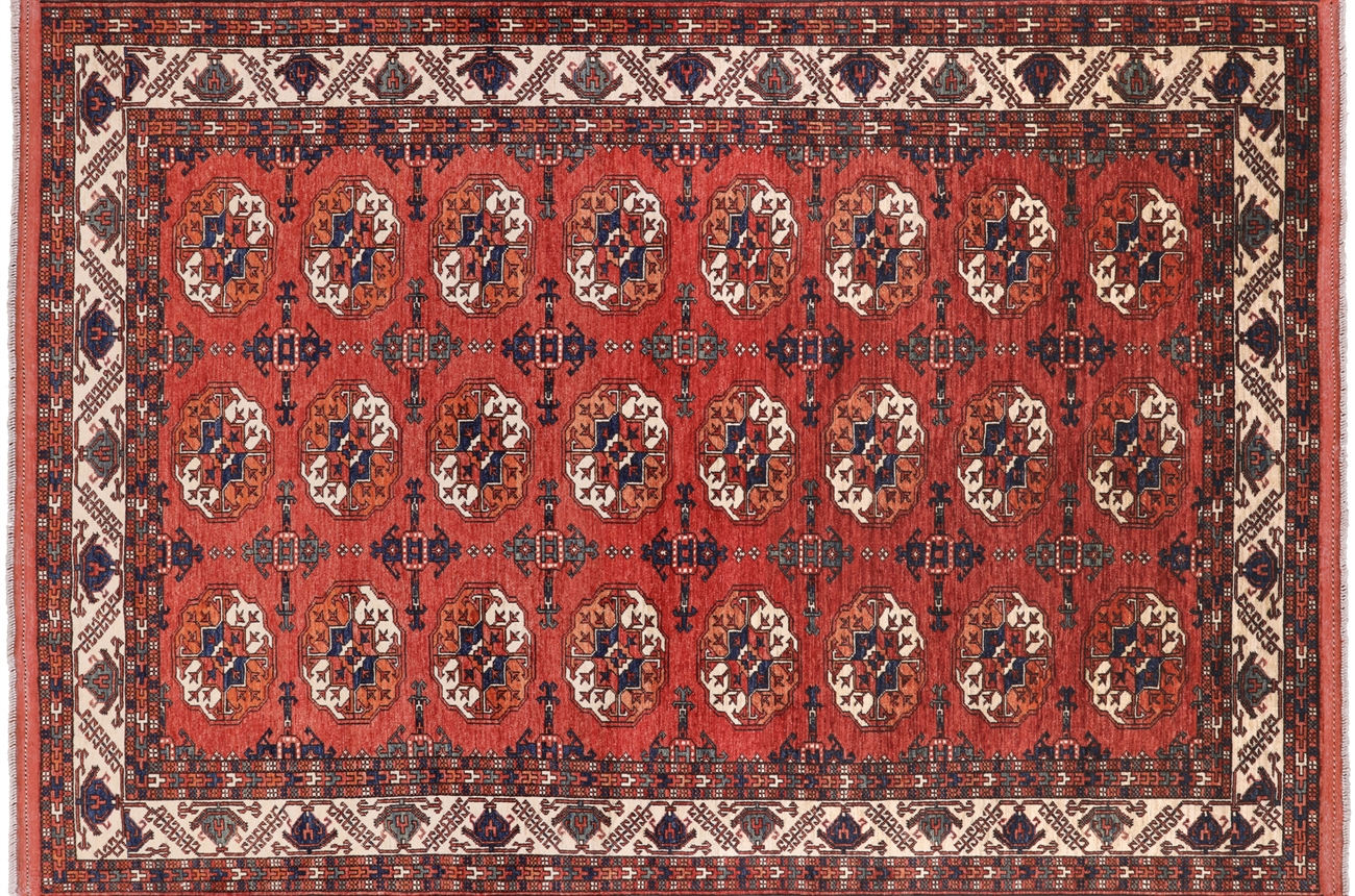 Ersari Oriental Hand Knotted Wool Area Rug 6 7 X 9 7