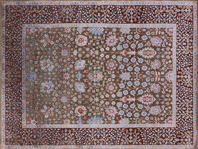 Hand Knotted Pure Silk With Oxidized Wool Rug