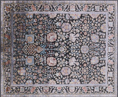Hand Knotted Silk With Oxidized Wool Area Rug