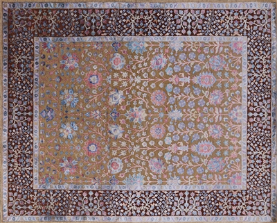 Persian Pure Silk With Oxidized Wool Hand Knotted Area Rug