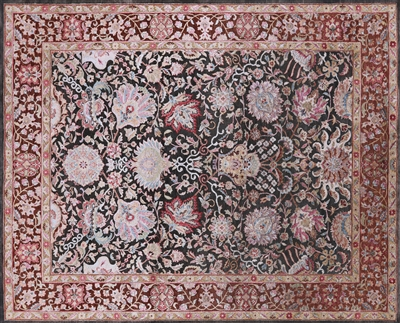 Persian Hand Knotted Silk With Oxidized Wool Area Rug