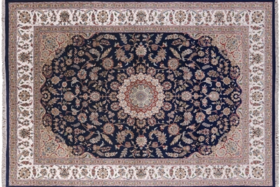 Hand Knotted Wool & Silk Persian Nain Area Rug