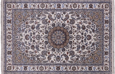 Persian Nain Handmade Wool & Silk Area Rug