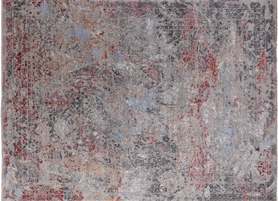 Persian Wool & Silk Hand Knotted Broken Design Area Rug