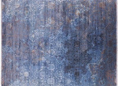 Modern Hand Knotted Wool & Silk Area Rug