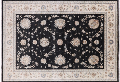Black Peshawar Hand Knotted Wool Area Rug