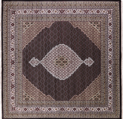 Square Wool & Silk Persian Tabriz Area Rug