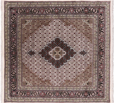 Square Persian Tabriz Wool & Silk Area Rug